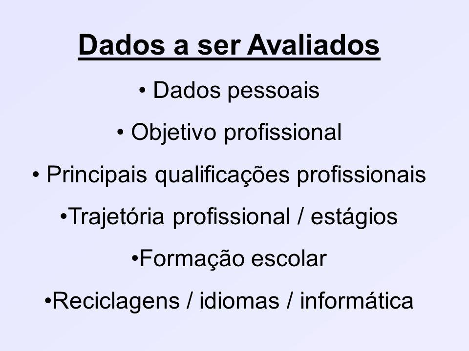 Dados a ser Avaliados Dados pessoais Objetivo profissional Principais qualificações profissionais Trajetória profissional / estágios Formação escolar Reciclagens / idiomas / informática