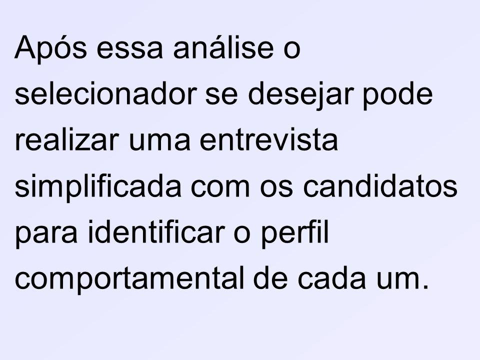 Após essa análise o selecionador se desejar pode realizar uma entrevista simplificada com os candidatos para identificar o perfil comportamental de cada um.
