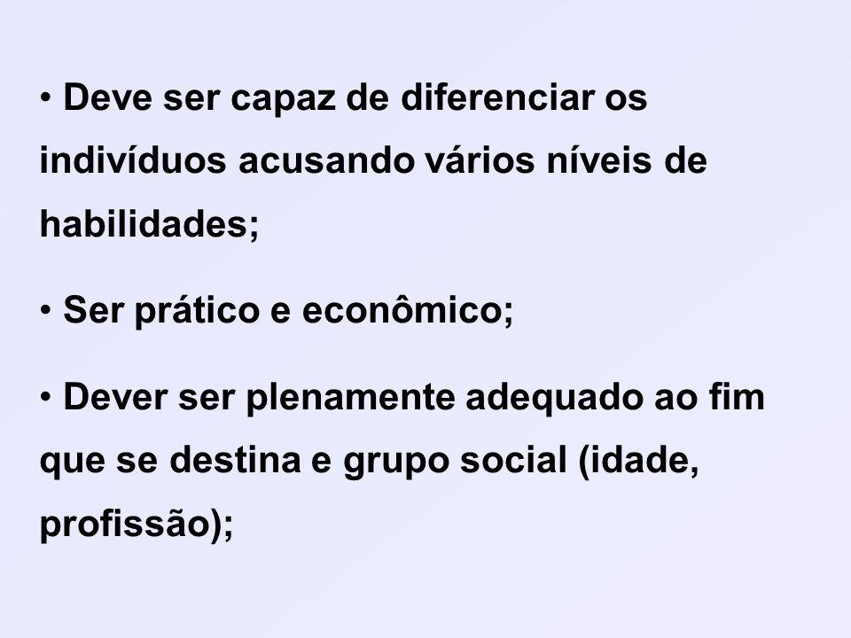 Deve ser capaz de diferenciar os indivíduos acusando vários níveis de habilidades; Ser prático e econômico; Dever ser plenamente adequado ao fim que se destina e grupo social (idade, profissão);