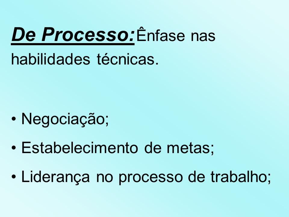 De Processo: Ênfase nas habilidades técnicas.