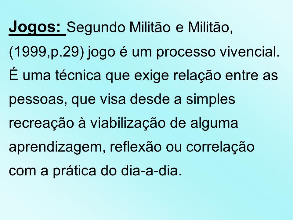 Jogos: Segundo Militão e Militão, (1999,p.29) jogo é um processo vivencial.