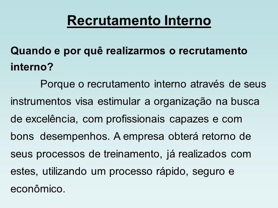 Recrutamento Externo Quando e pôr que fazer recrutamento externo.