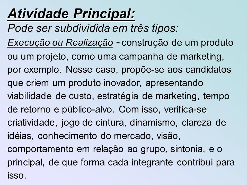 Atividade Principal: Pode ser subdividida em três tipos: Execução ou Realização - construção de um produto ou um projeto, como uma campanha de marketing, por exemplo.