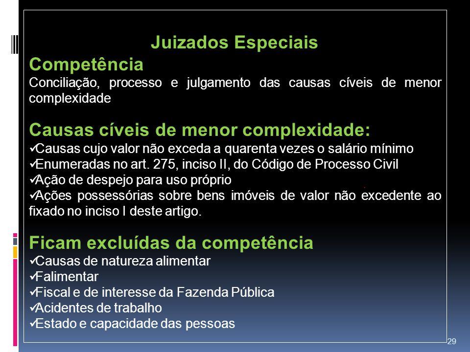 29 Juizados Especiais Competência Conciliação, processo e julgamento das causas cíveis de menor complexidade Causas cíveis de menor complexidade: Caus