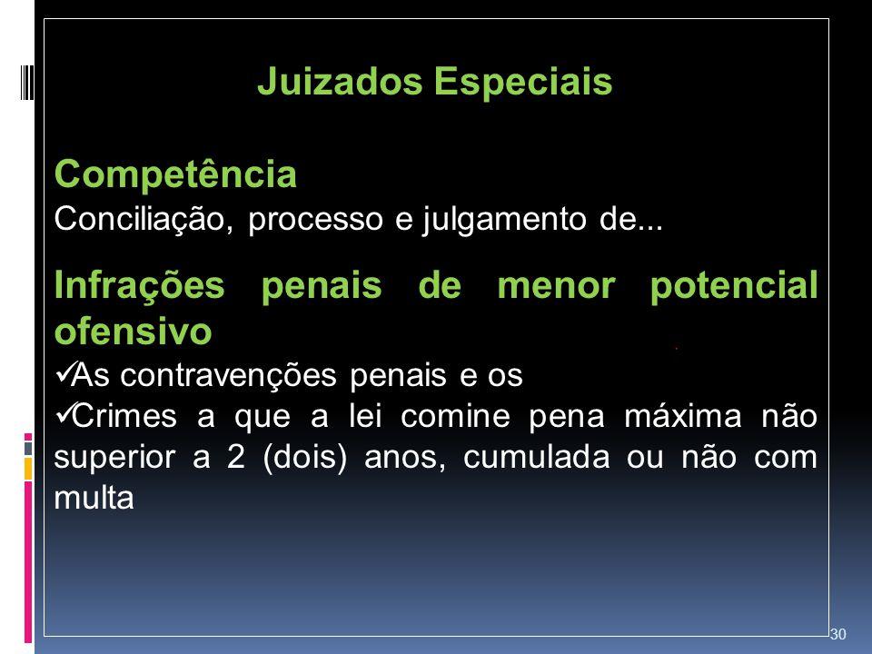 30 Juizados Especiais Competência Conciliação, processo e julgamento de... Infrações penais de menor potencial ofensivo As contravenções penais e os C