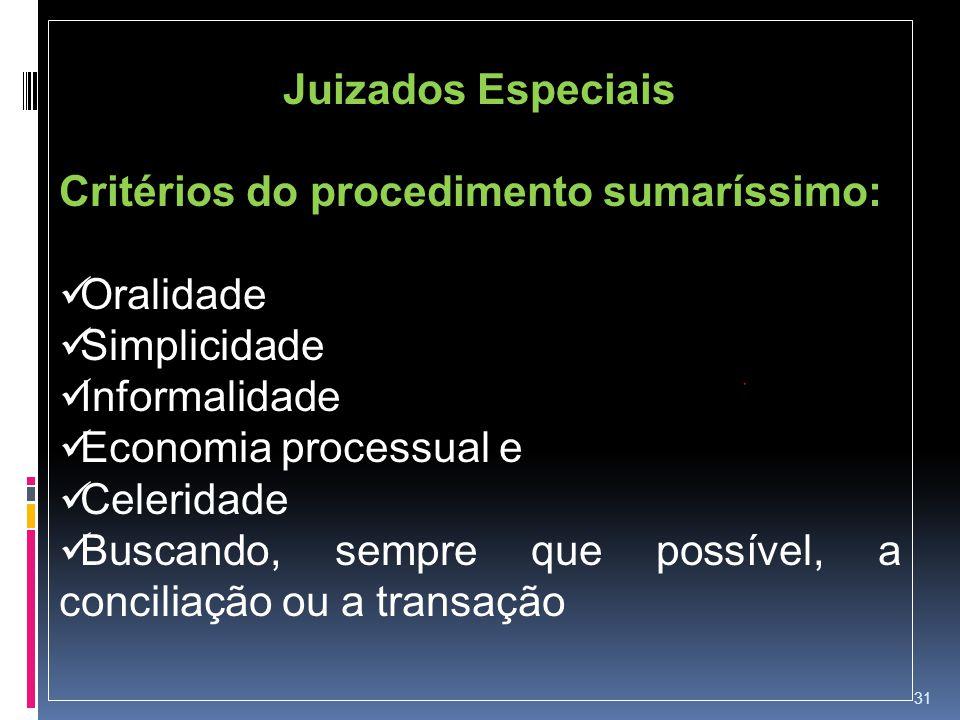 31 Juizados Especiais Critérios do procedimento sumaríssimo: Oralidade Simplicidade Informalidade Economia processual e Celeridade Buscando, sempre qu