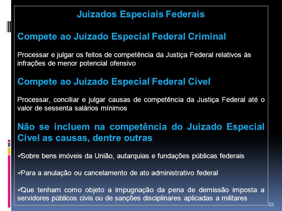 33 Juizados Especiais Federais Compete ao Juizado Especial Federal Criminal Processar e julgar os feitos de competência da Justiça Federal relativos à