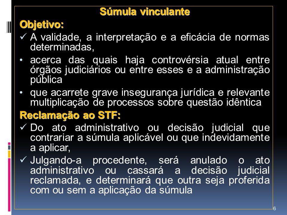 Súmula vinculante Objetivo: A validade, a interpretação e a eficácia de normas determinadas, acerca das quais haja controvérsia atual entre órgãos jud