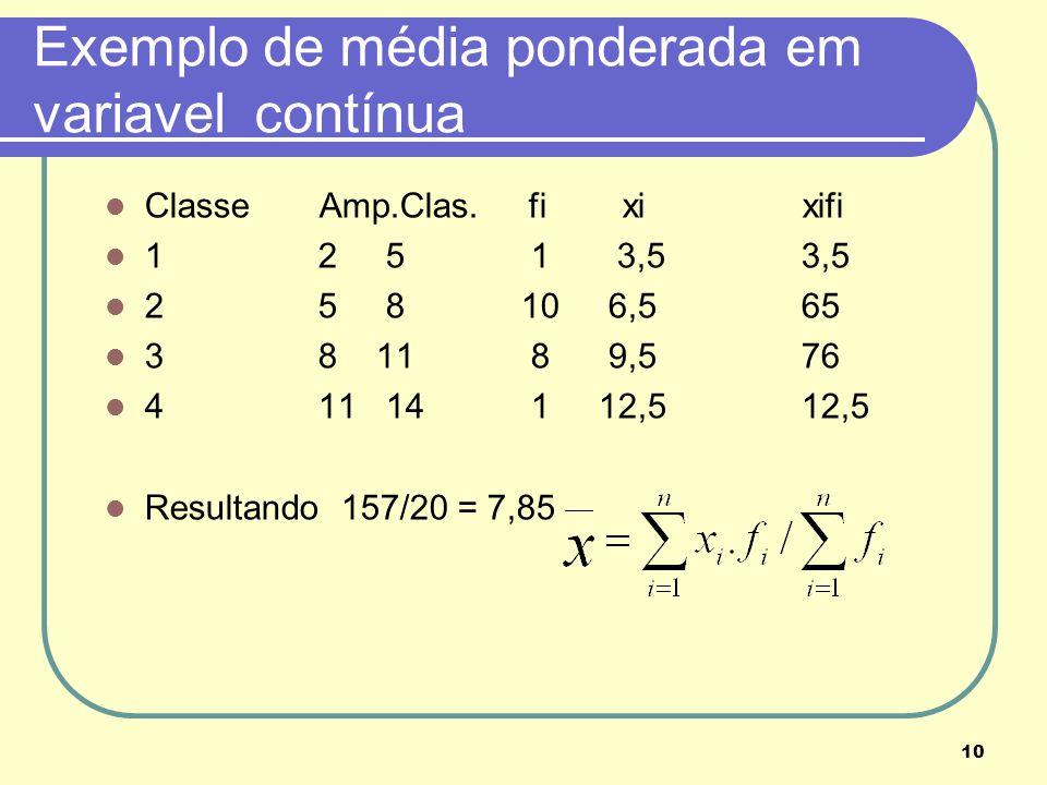 10 Exemplo de média ponderada em variavel contínua Classe Amp.Clas. fi xi xifi 1 2 5 1 3,5 3,5 2 5 8 10 6,5 65 3 8 11 8 9,5 76 4 11 14 1 12,5 12,5 Res