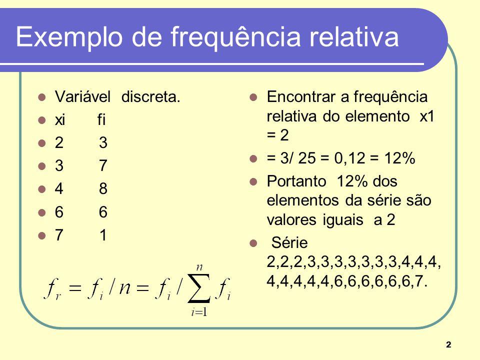 2 Exemplo de frequência relativa Variável discreta. xi fi 2 3 3 7 4 8 6 6 7 1 Encontrar a frequência relativa do elemento x1 = 2 = 3/ 25 = 0,12 = 12%