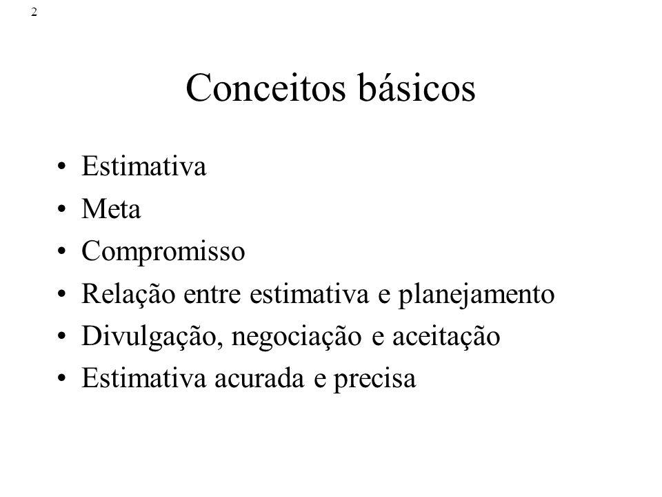 2 Conceitos básicos Estimativa Meta Compromisso Relação entre estimativa e planejamento Divulgação, negociação e aceitação Estimativa acurada e precis