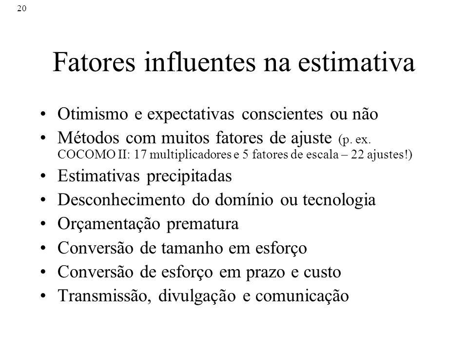 20 Fatores influentes na estimativa Otimismo e expectativas conscientes ou não Métodos com muitos fatores de ajuste (p. ex. COCOMO II: 17 multiplicado