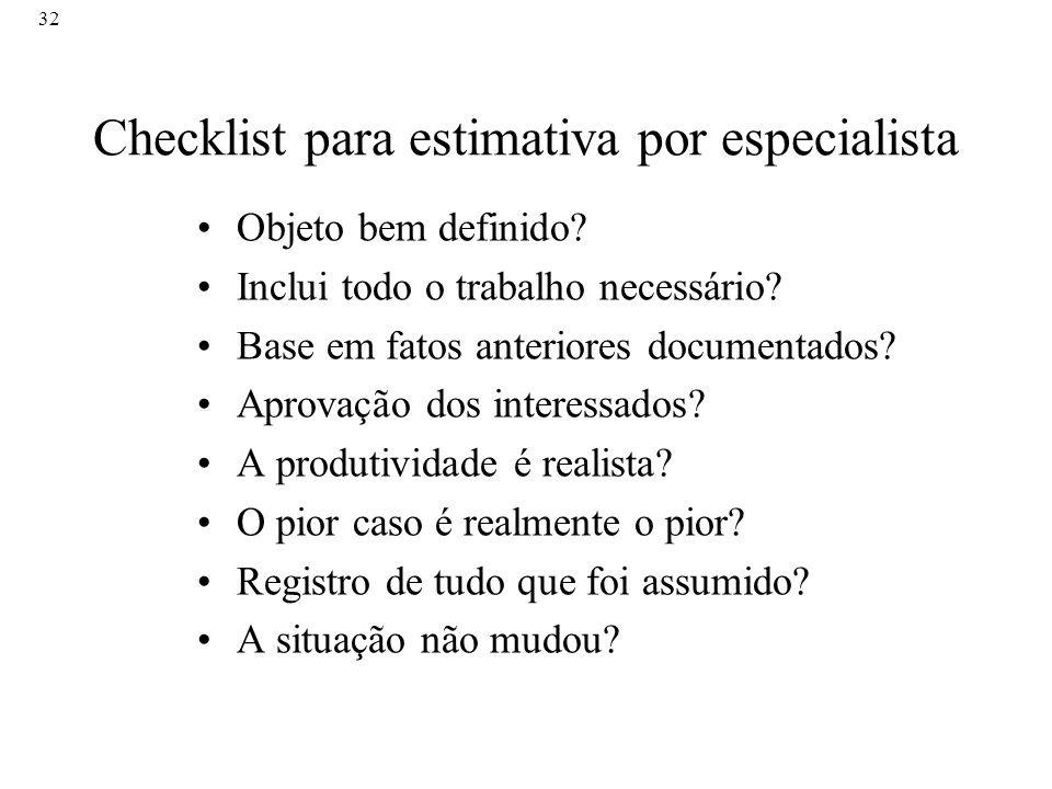 32 Checklist para estimativa por especialista Objeto bem definido? Inclui todo o trabalho necessário? Base em fatos anteriores documentados? Aprovação