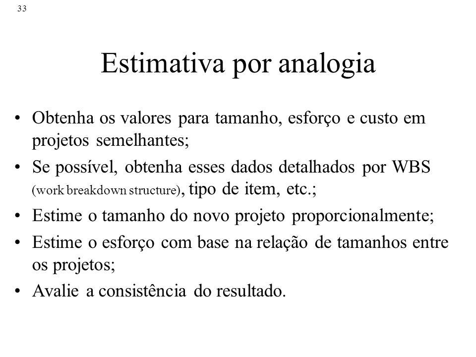 33 Estimativa por analogia Obtenha os valores para tamanho, esforço e custo em projetos semelhantes; Se possível, obtenha esses dados detalhados por W
