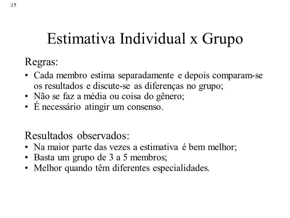 35 Estimativa Individual x Grupo Regras: Cada membro estima separadamente e depois comparam-se os resultados e discute-se as diferenças no grupo; Não