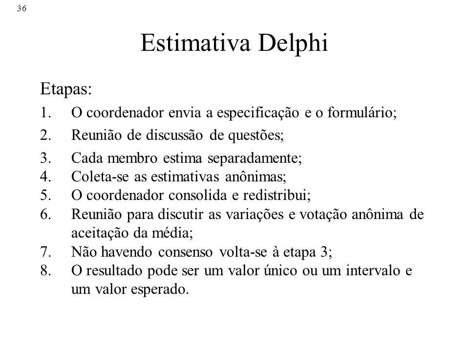 36 Estimativa Delphi Etapas: 1.O coordenador envia a especificação e o formulário; 2.Reunião de discussão de questões; 3.Cada membro estima separadame