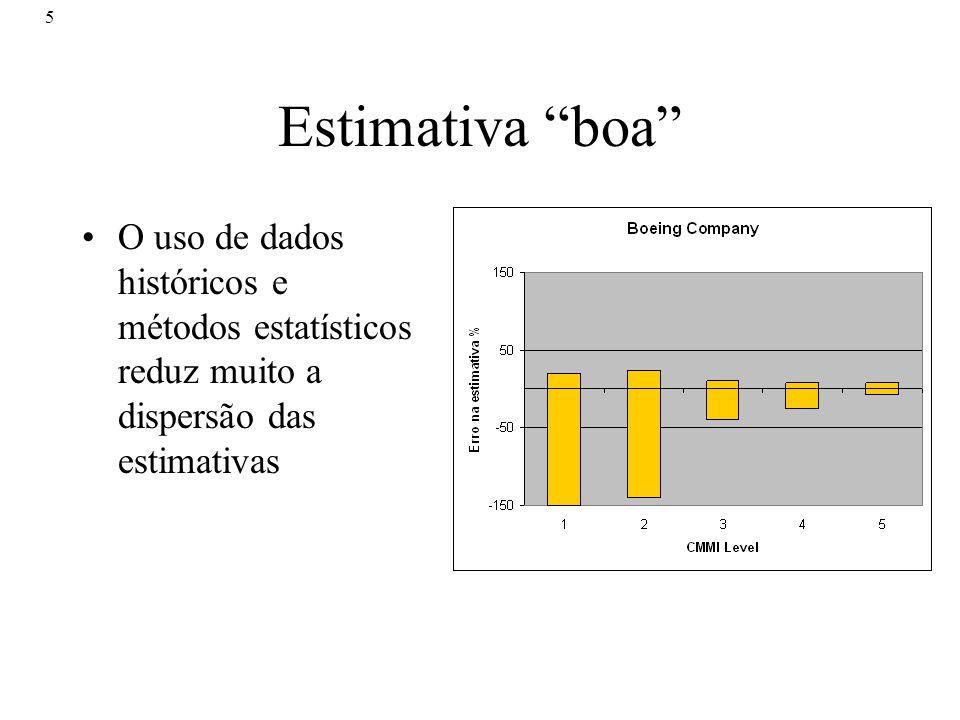5 Estimativa boa O uso de dados históricos e métodos estatísticos reduz muito a dispersão das estimativas