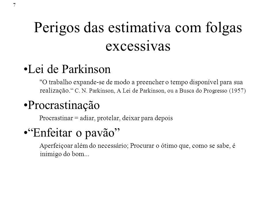 7 Perigos das estimativa com folgas excessivas Lei de Parkinson