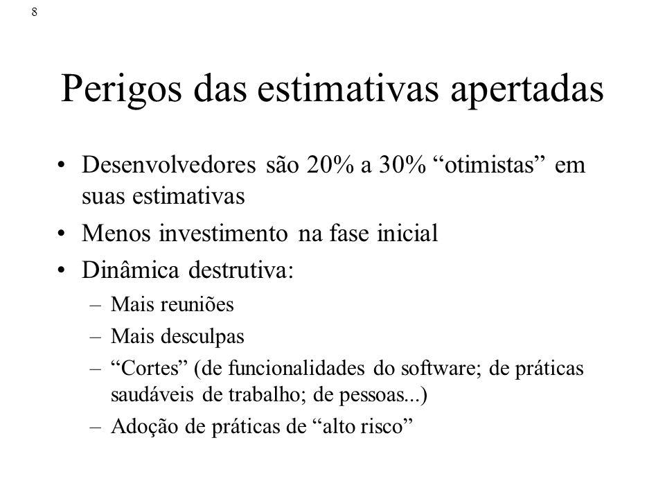 8 Perigos das estimativas apertadas Desenvolvedores são 20% a 30% otimistas em suas estimativas Menos investimento na fase inicial Dinâmica destrutiva