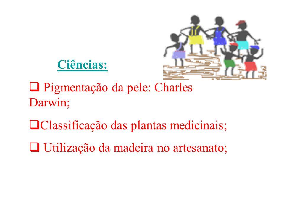 Ciências: Pigmentação da pele: Charles Darwin; Classificação das plantas medicinais; Utilização da madeira no artesanato;