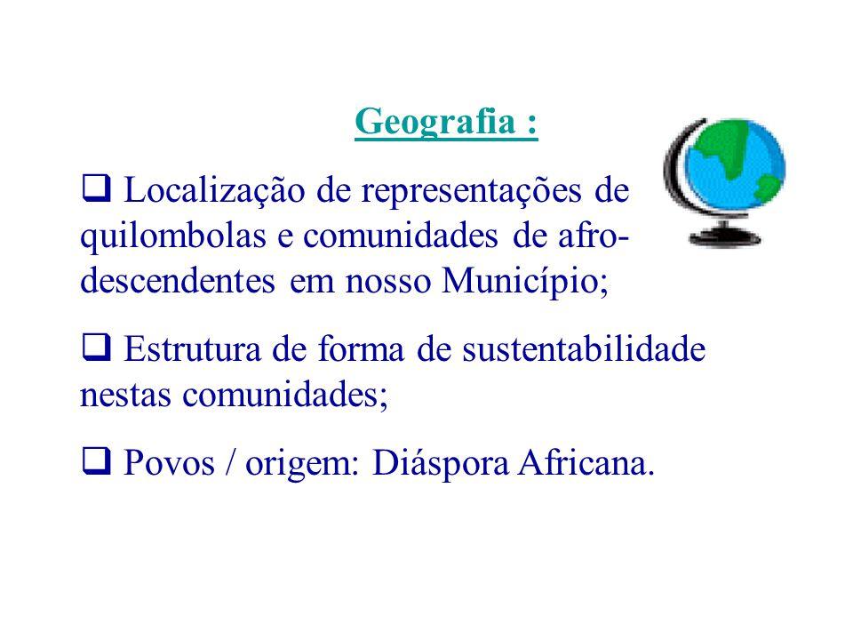 Geografia : Localização de representações de quilombolas e comunidades de afro- descendentes em nosso Município; Estrutura de forma de sustentabilidad