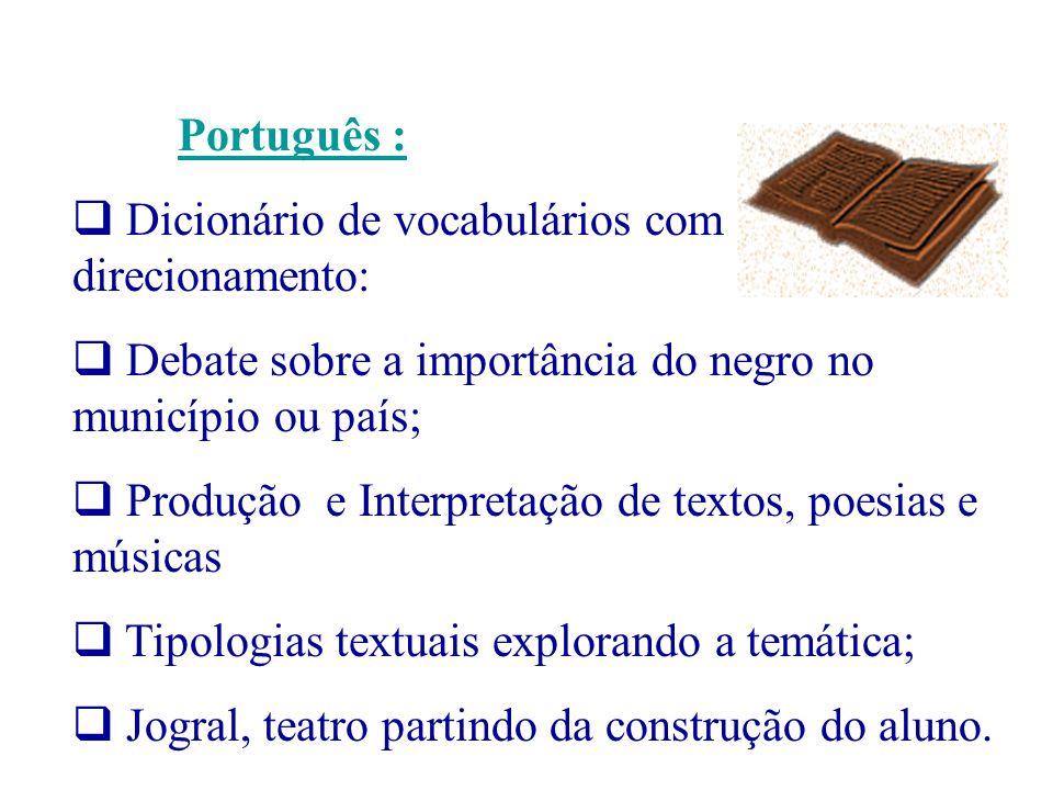 Português : Dicionário de vocabulários com direcionamento: Debate sobre a importância do negro no município ou país; Produção e Interpretação de texto