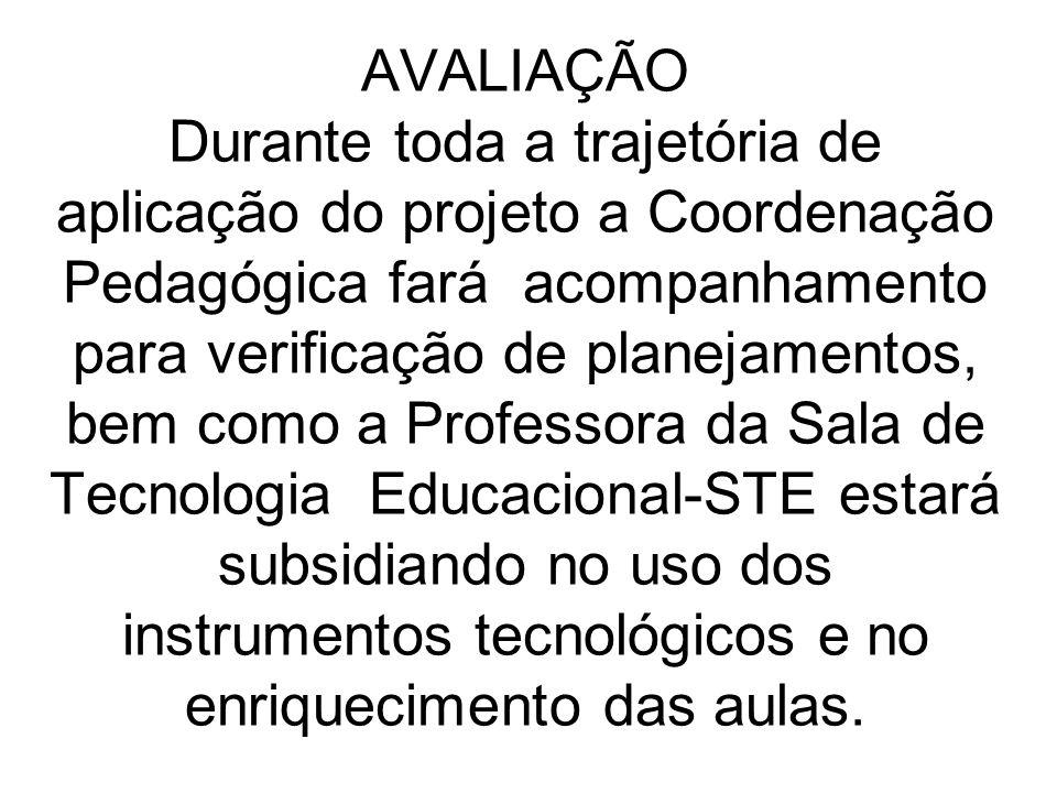 AVALIAÇÃO Durante toda a trajetória de aplicação do projeto a Coordenação Pedagógica fará acompanhamento para verificação de planejamentos, bem como a