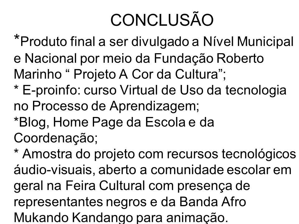 CONCLUSÃO * Produto final a ser divulgado a Nível Municipal e Nacional por meio da Fundação Roberto Marinho Projeto A Cor da Cultura; * E-proinfo: cur