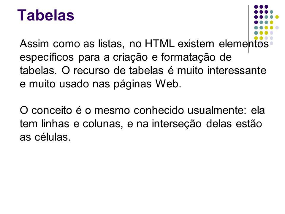 Tabelas Assim como as listas, no HTML existem elementos específicos para a criação e formatação de tabelas.