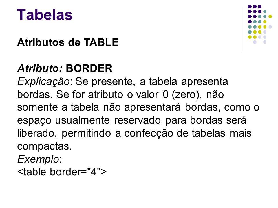 Tabelas Atributos de TABLE Atributo: BORDER Explicação: Se presente, a tabela apresenta bordas.