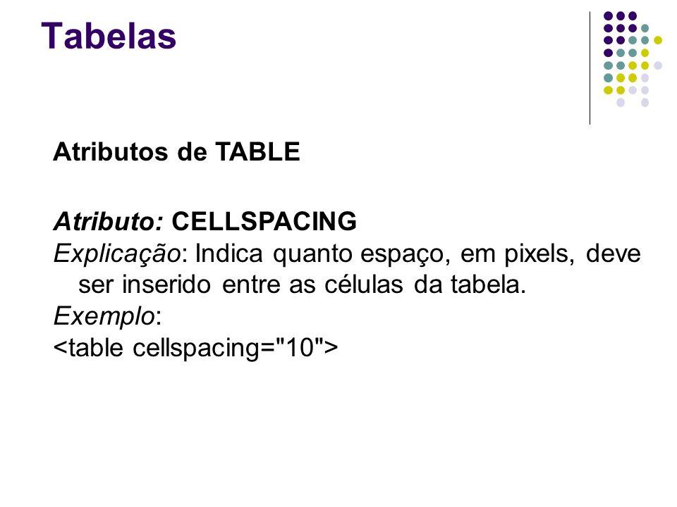 Tabelas Atributos de TABLE Atributo: CELLSPACING Explicação: Indica quanto espaço, em pixels, deve ser inserido entre as células da tabela.