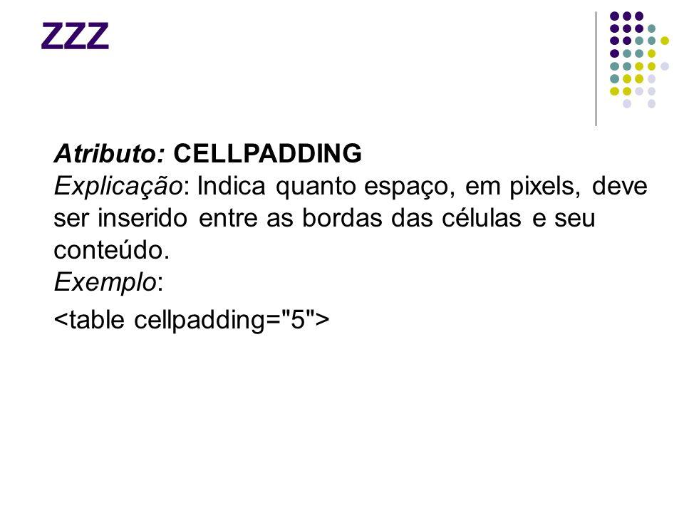 ZZZ Atributo: CELLPADDING Explicação: Indica quanto espaço, em pixels, deve ser inserido entre as bordas das células e seu conteúdo.