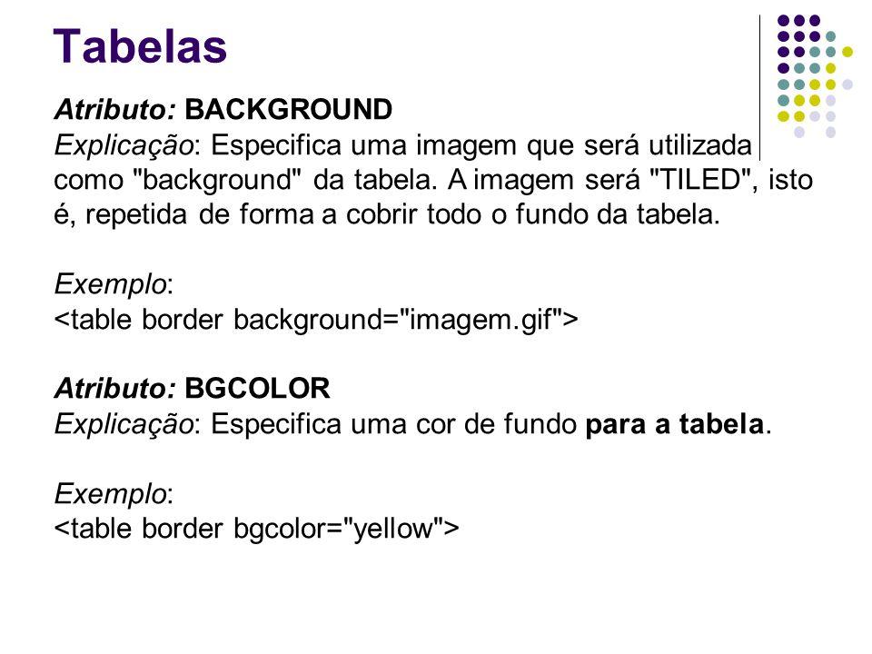 Tabelas Atributo: BACKGROUND Explicação: Especifica uma imagem que será utilizada como background da tabela.