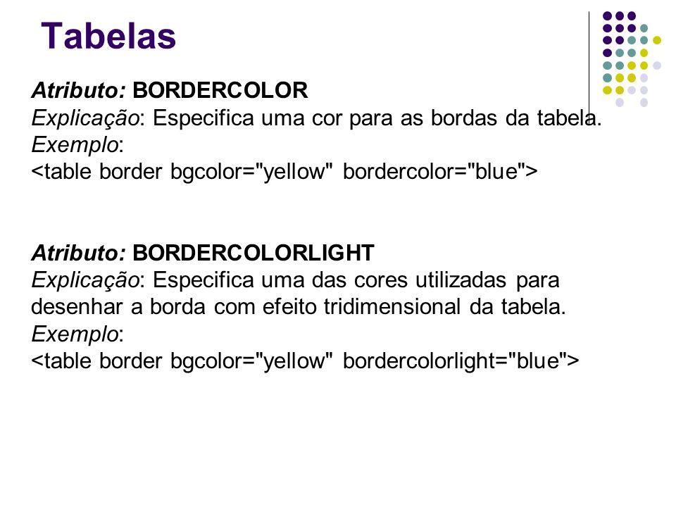 Tabelas Atributo: BORDERCOLOR Explicação: Especifica uma cor para as bordas da tabela.