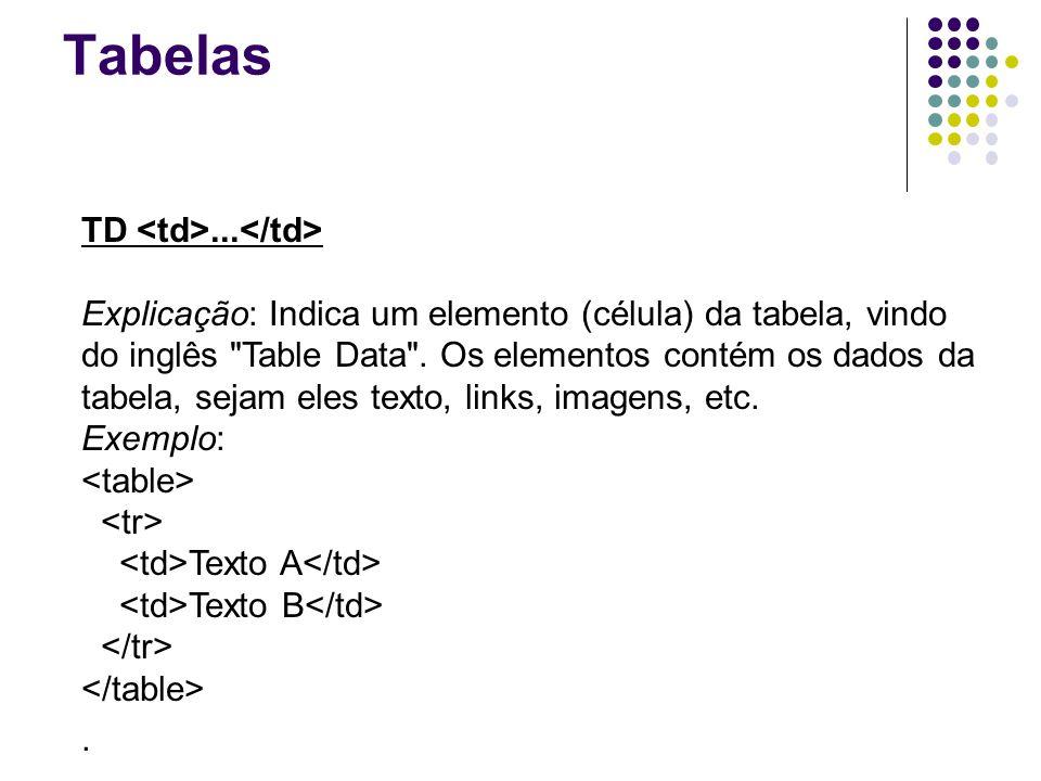 Tabelas TD... Explicação: Indica um elemento (célula) da tabela, vindo do inglês Table Data .