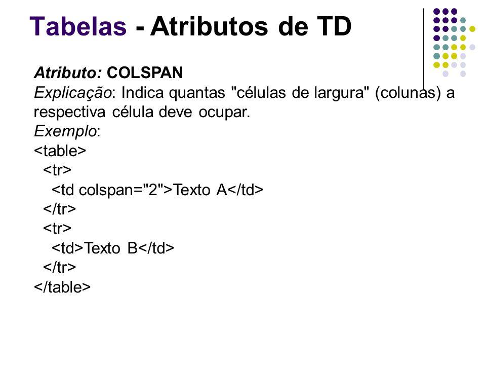 Tabelas - Atributos de TD Atributo: COLSPAN Explicação: Indica quantas células de largura (colunas) a respectiva célula deve ocupar.