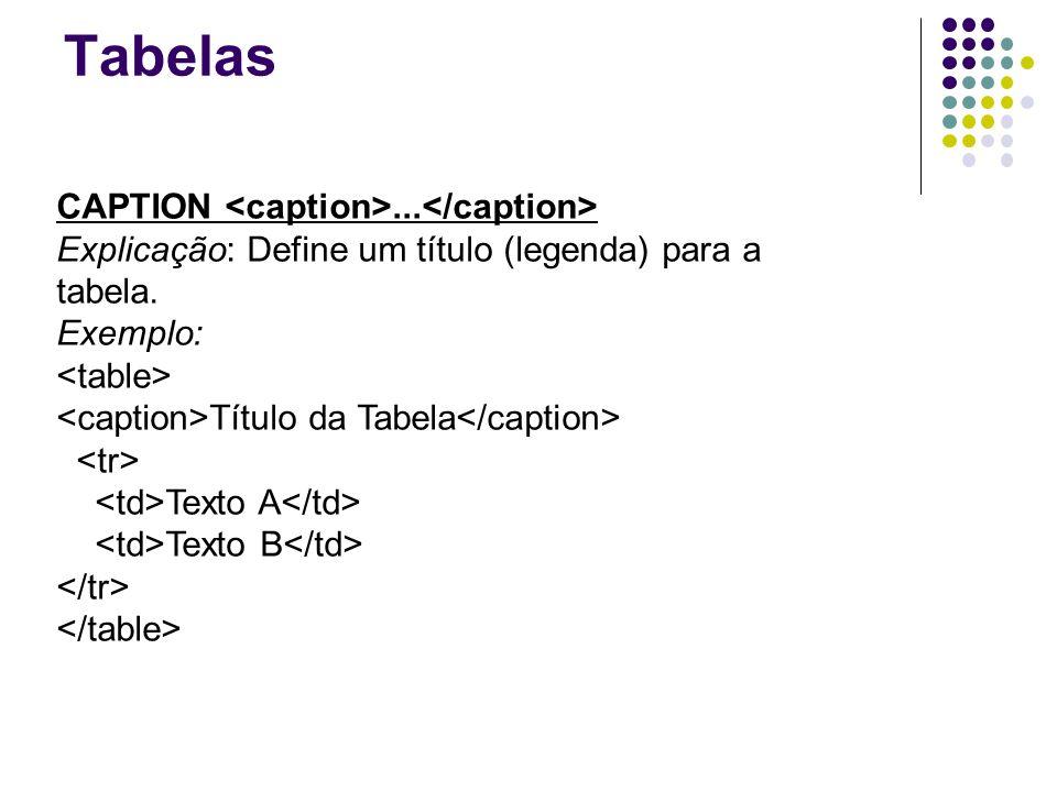 Tabelas CAPTION... Explicação: Define um título (legenda) para a tabela.