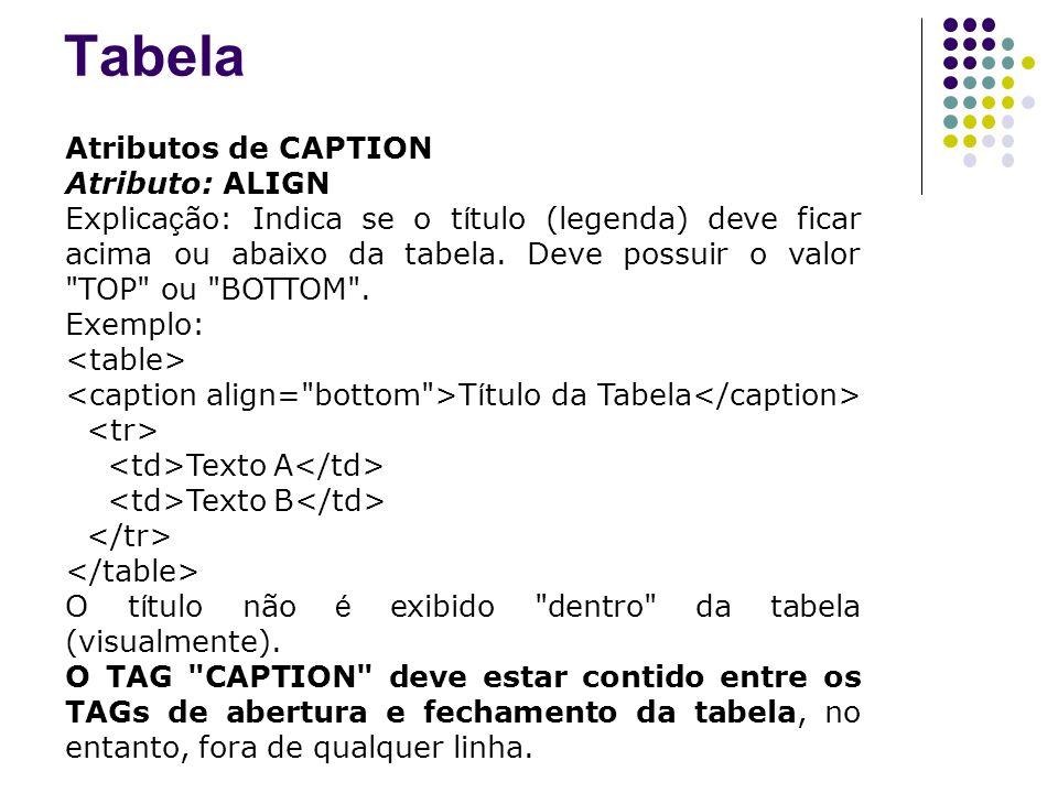 Atributos de CAPTION Atributo: ALIGN Explica ç ão: Indica se o t í tulo (legenda) deve ficar acima ou abaixo da tabela.