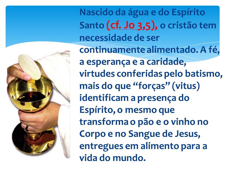 Nascido da água e do Espírito Santo (cf. Jo 3,5), o cristão tem necessidade de ser continuamente alimentado. A fé, a esperança e a caridade, virtudes