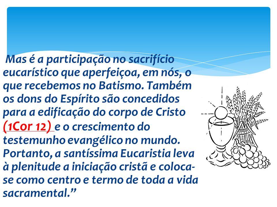 Mas é a participação no sacrifício eucarístico que aperfeiçoa, em nós, o que recebemos no Batismo. Também os dons do Espírito são concedidos para a ed