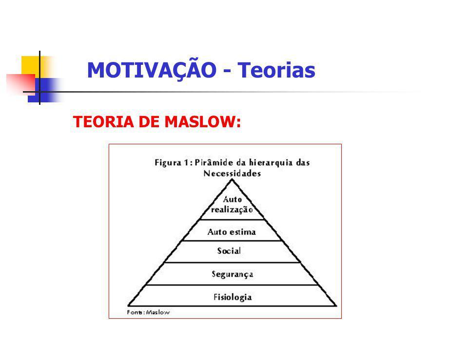 TEORIA DE MASLOW: MOTIVAÇÃO - Teorias Tipos de Necessidades: Primárias Fisiológicas – dizem respeito a sobrevivência das pessoas. Segurança – necessid
