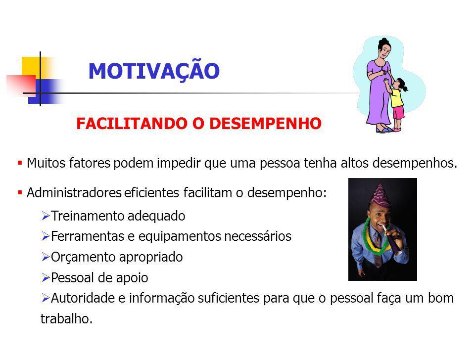 FACILITANDO O DESEMPENHO Muitos fatores podem impedir que uma pessoa tenha altos desempenhos.