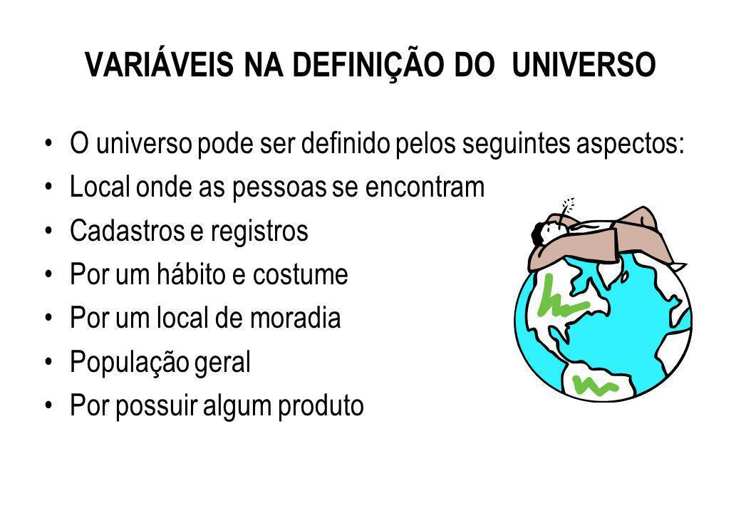 Todos os elementos que compõe o público que me interessa pesquisar. Exemplo: a população do Brasil a população de Ribeirão Preto os funcionários de um