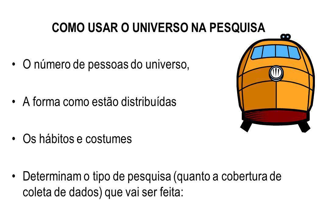 VARIÁVEIS NA DEFINIÇÃO DO UNIVERSO O universo pode ser definido pelos seguintes aspectos: Local onde as pessoas se encontram Cadastros e registros Por