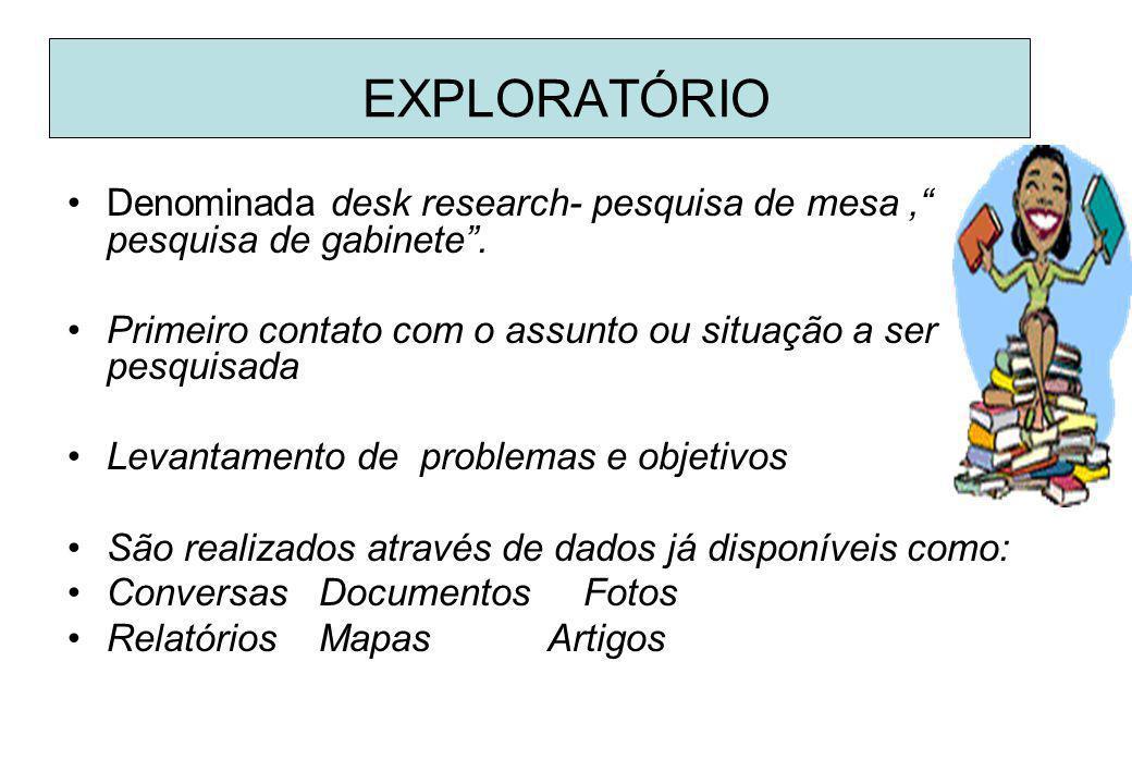 a. Exploratória: bibliográfica e documental b. Descritivo: descrição dos fenômenos- pesquisa de campo c. Experimental ou Explicativa: teses para ident