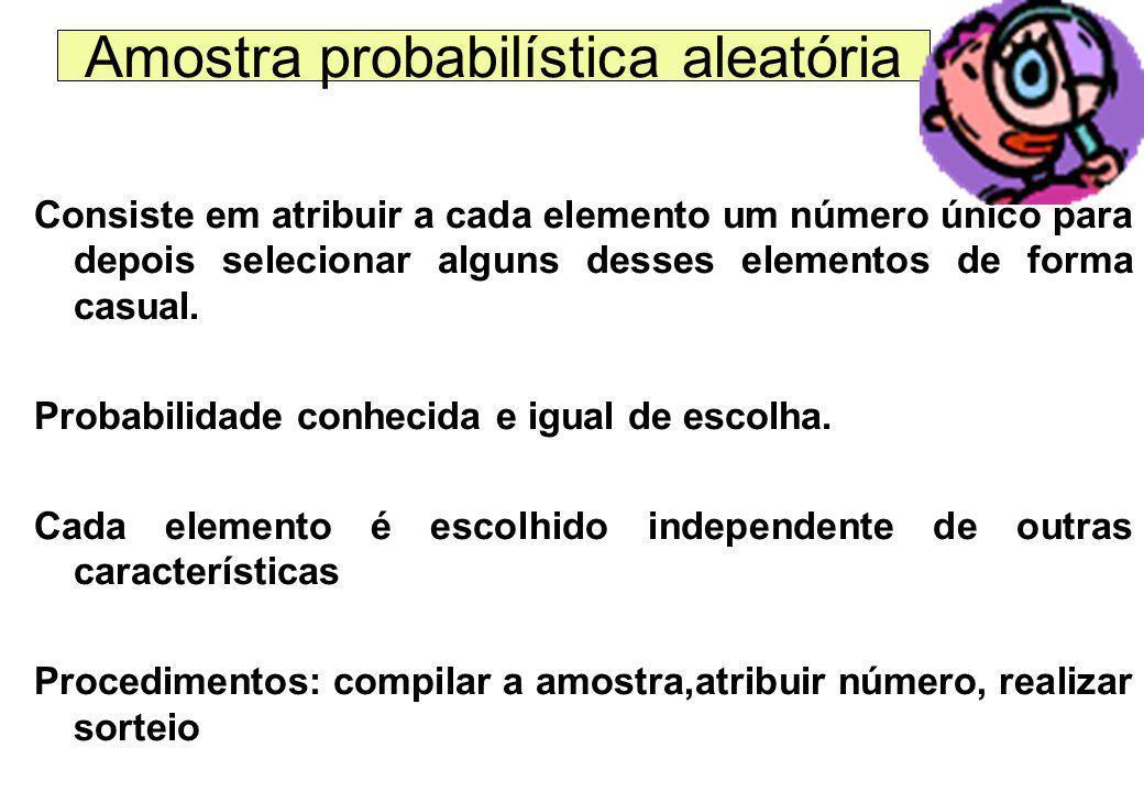 Quando definir que a minha pesquisa amostral terá amostra probabilística? 1)Quando sei onde localizar cada elemento do meu universo 2) quando conheço