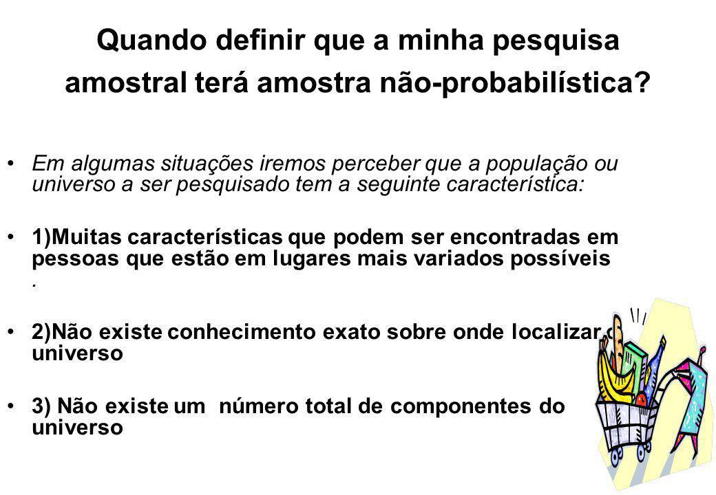 AMOSTRAS NÃO-PROBABILÍSITCAS CONVENIENCIA VOLUNTÁRIA COTAS
