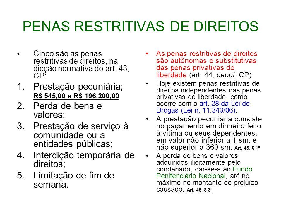PENAS RESTRITIVAS DE DIREITOS Cinco são as penas restritivas de direitos, na dicção normativa do art.