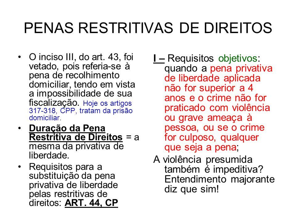 PENAS RESTRITIVAS DE DIREITOS O inciso III, do art.