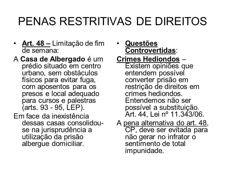 PENAS RESTRITIVAS DE DIREITOS Art.